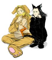 Loki is a cat.  Thor is a dog. by enjyoujipolka