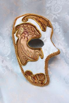 Paper Mache and Brocade Phantom Mask by DaraGallery