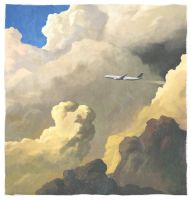 clouds and airplane by cyberkite