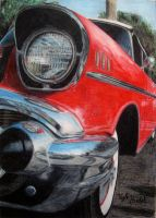 57 Chevy in Color Pencil by Hudizzle