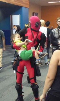Deadpool with child by reivax