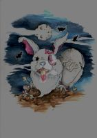 arghhh......zombie bunny by willowtreetattoos