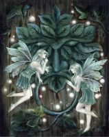 Greenman's Door by JannaFairyArt