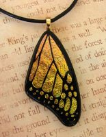 Yellow Peach Glass Wing by FusedElegance