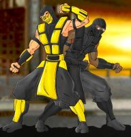 Scorpion And Noob Saibot by Mawnbak