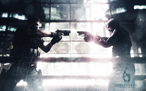 Chris vs Leon wall RE 6 by Vicky-Redfield