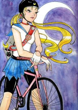 Cyclist Sailor Moon by SteakandUnicorns