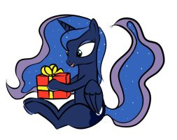 Luna with Present by MakDemonik