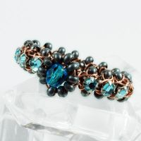 Blue, Gunmetal and Copper Ring View 1 by sylva
