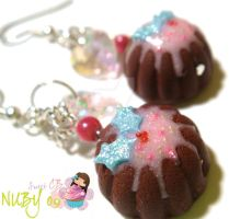 Petite Christmas Cake earrings by colourful-blossom