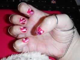 Pink and white nail art design by Amazinadrielle