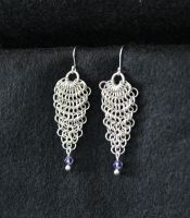Silver Falls to Crystal Earrings by SerenFey