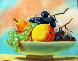 Still Life With Peach Pear And Grapes -  11x14 by mjdezo