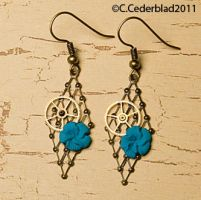 Blue flower steampunk earrings by skuggsida