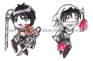 Attack on Titan: Eren and Cleaning Levi chibi by Fly-Sky-High