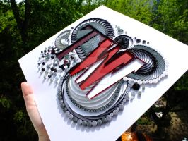 My first quilling logo side view by othewhitewizard