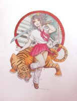 A Girl and Her Cat by genki-kid
