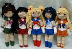 chibi sailor scouts group shot by TheArtisansNook