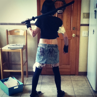Halloween Zombie Hunter Cosplay (back view) by Spookyx12