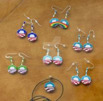 A whole mess of Obama seed bead earrings by AxmxZ