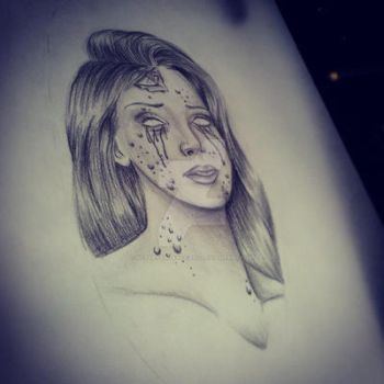 Pretty Grotesque tattoo design zombie girl by heartsandanchors