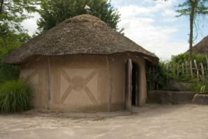 African clay hut by steppelandstock