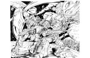Optimus vs Gundam by Inker-guy