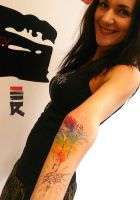 Water color feather and compass by enhancertattoo