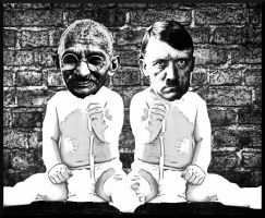 Gandhi and Hitler by jackcomstock