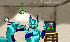 Raul + Lenor - watching TV by angelus-wolf