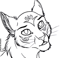 Free Cat Headshot Lineart by cleopata