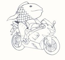 Fish on a bike by silvert0ngue