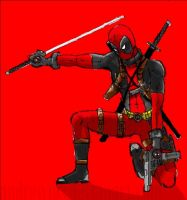 red deadpool by AndrewMS