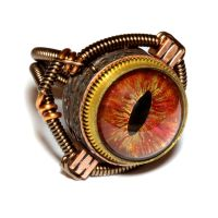 Steampunk Ring with hand painted Dragon Eye by CatherinetteRings