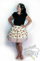 Cherry border print skirt by The-Cute-Storm