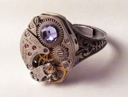 Steampunk Ring Purple Crystal by SteamDesigns