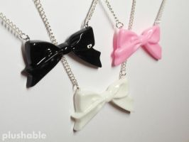 Ribbon bow necklaces by voodoogrl