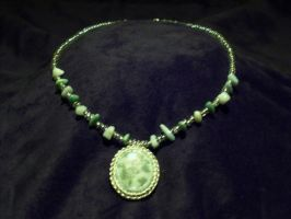 Green stone necklace by craftymama