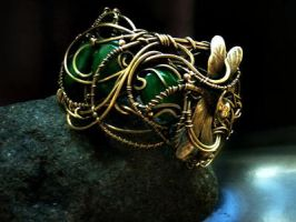 This is a wide Bracelet with dragonflies and lizar by DARiyaKUTEPOVA