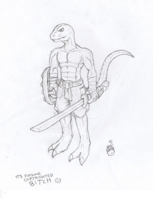 Lizardman warrior sketch by Harris0n