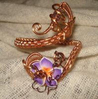 Wire Wrapped adjustable Copper Plumeria Bracelet by Toowired