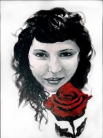 Girl with a Red Rose by maxine