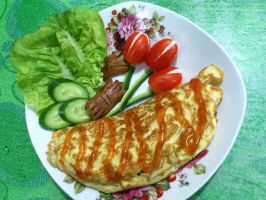 Omurice and tulips by plainordinary1