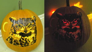 Great Horned Owl Pumpkin - 2012 by Calicolupe