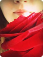 Self portrait with rose by Rachyf1