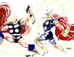 Thor vs Beta Ray Bill WIP 1 by portfan