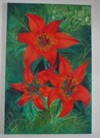 3 Wood Lilies by piecesoeight