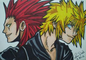 Axel and Roxas ACEO card by LadyNin-Chan