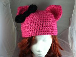Pink and Black Crochet Kitty Hat by NerdStitch