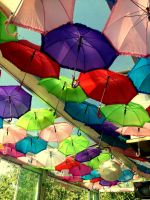 Umbrellas on the sky by pressurechief